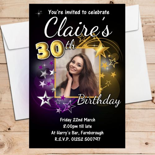 10 Personalised Gold & Purple Stars Birthday Party Invitations N215 ANY AGE